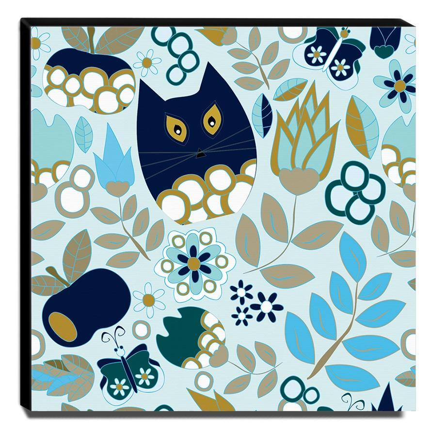 Quadro Infantil Gato Floral Canvas 30x30cm-INF407