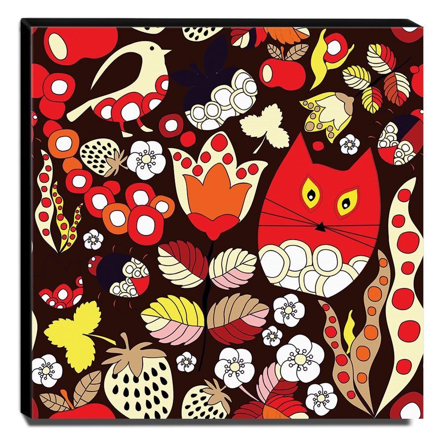 Quadro Infantil Gato Floral Canvas 30x30cm-INF408