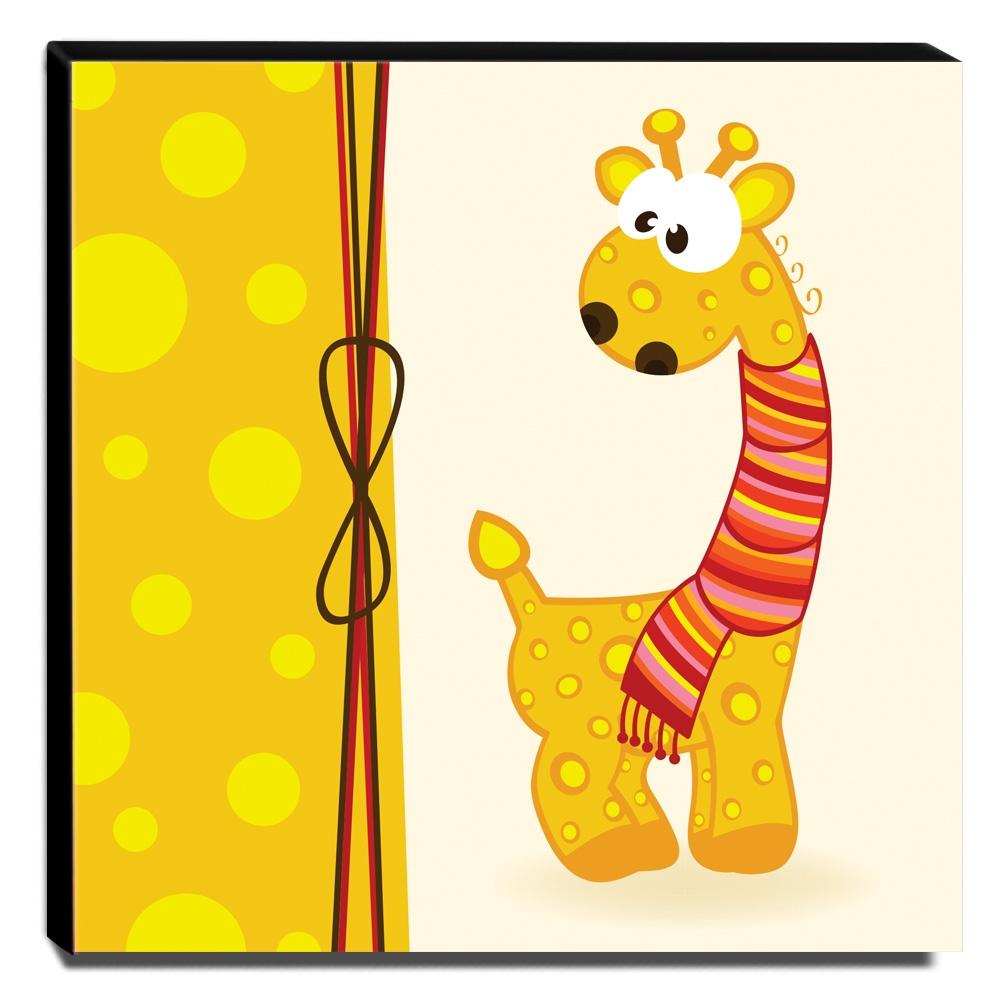 Quadro Infantil Girafa Canvas 30x30cm-INF130