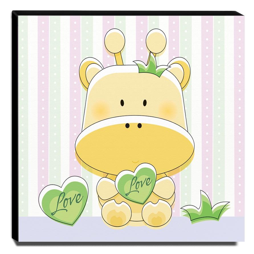Quadro Infantil Girafa Love Canvas 30x30cm-INF291