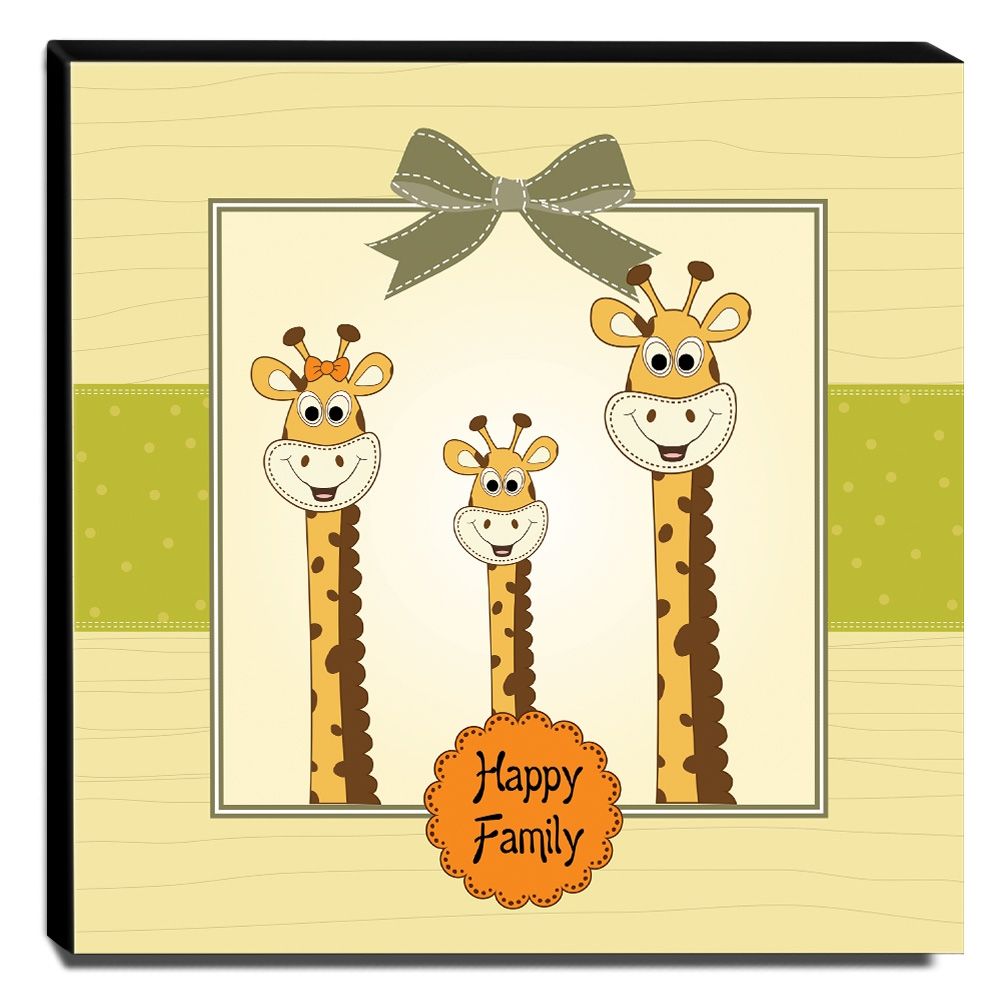 Quadro Infantil Girafas Canvas 30x30cm-INF63