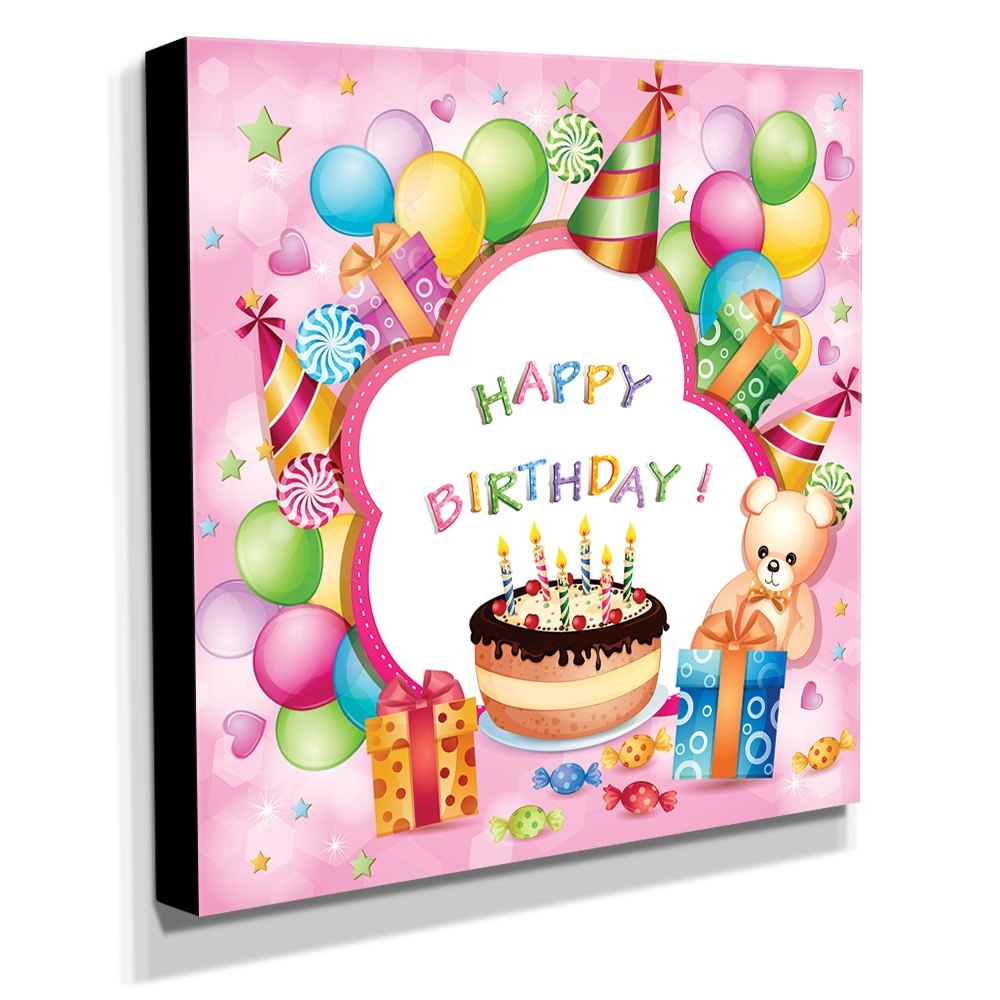 Quadro Infantil Happy Birthday Canvas 30x30cm-INF132