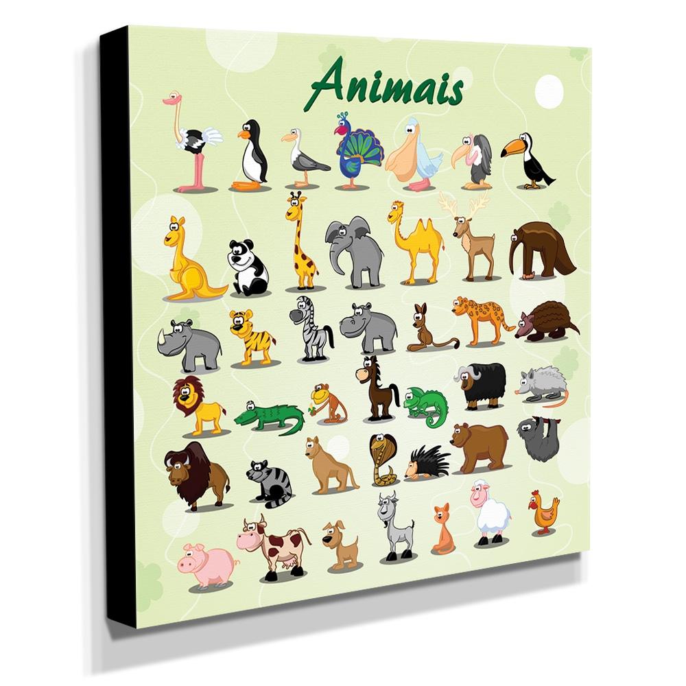 Quadro Infantil Love Animais Canvas 30x30cm-INF175