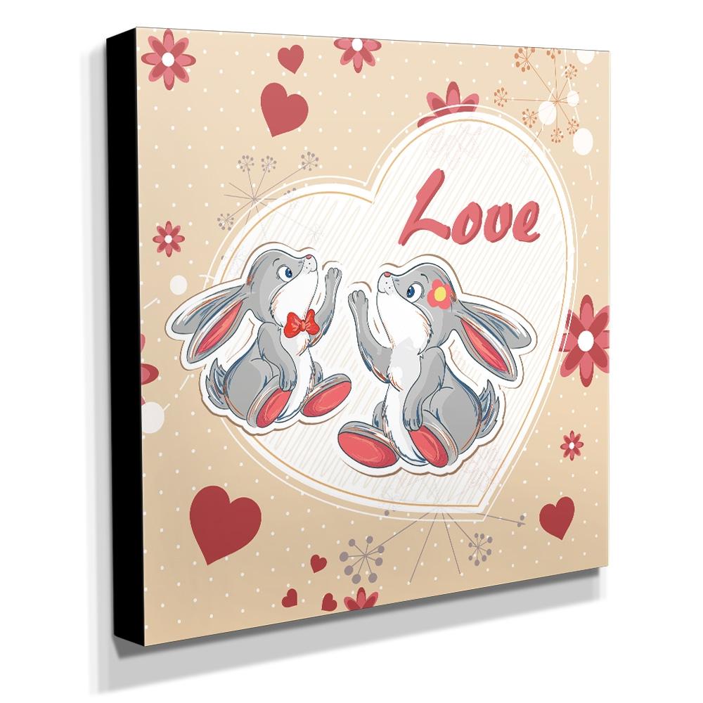 Quadro Infantil Love Coelhos Canvas 30x30cm-INF90