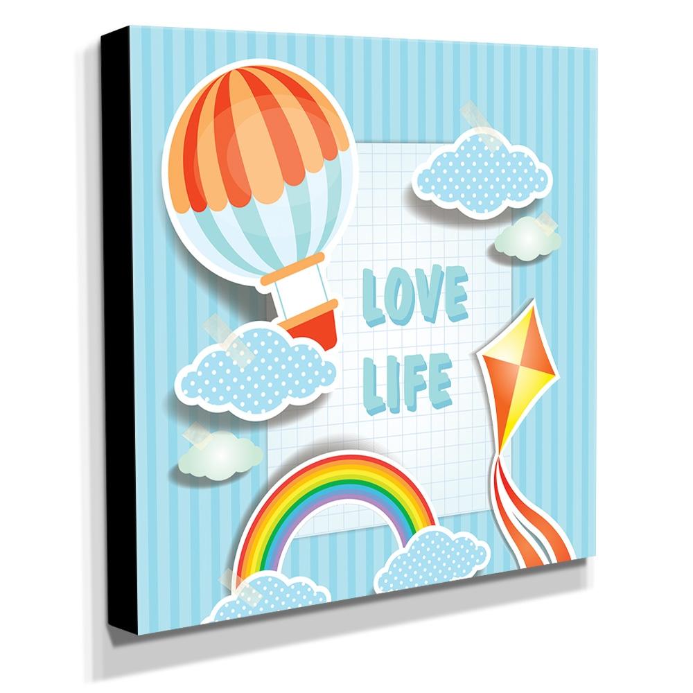 Quadro Infantil Love Life Canvas 30x30cm-INF135