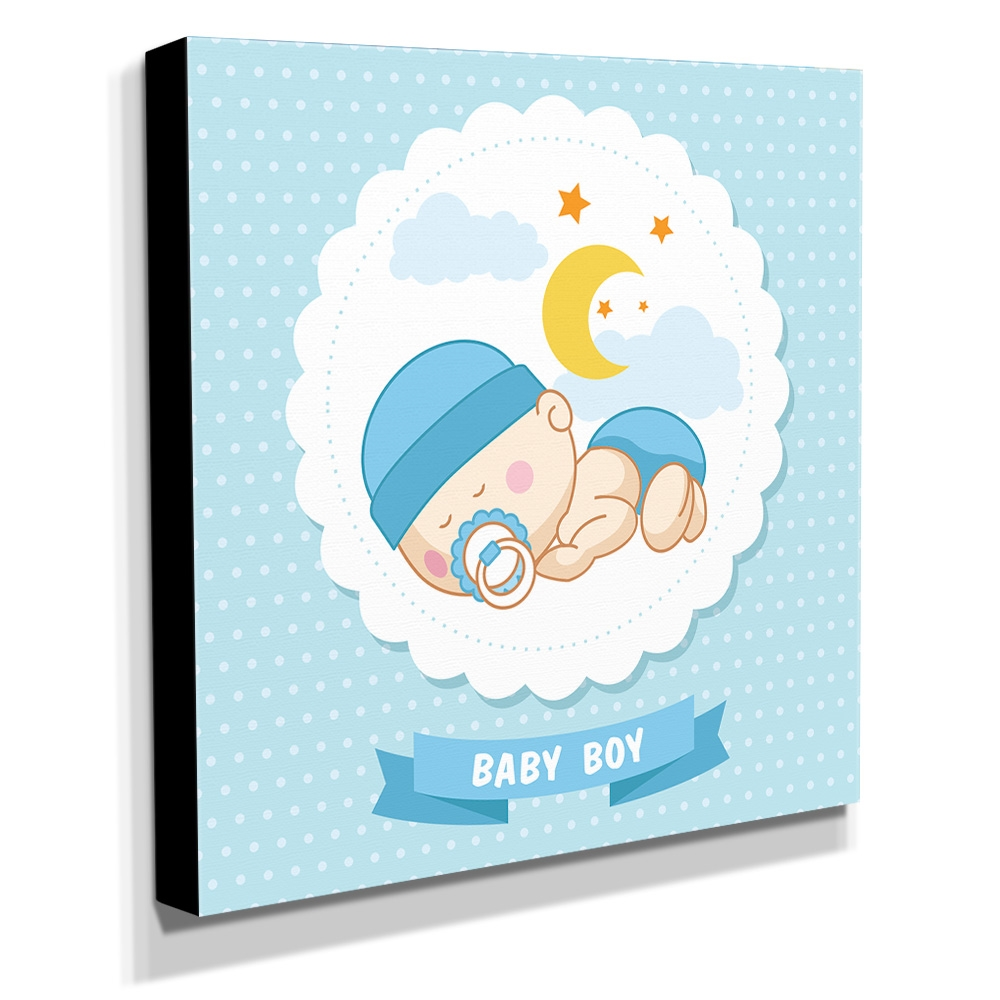 Quadro Infantil Maternidade Baby Boy Canvas 30x30cm-INF147