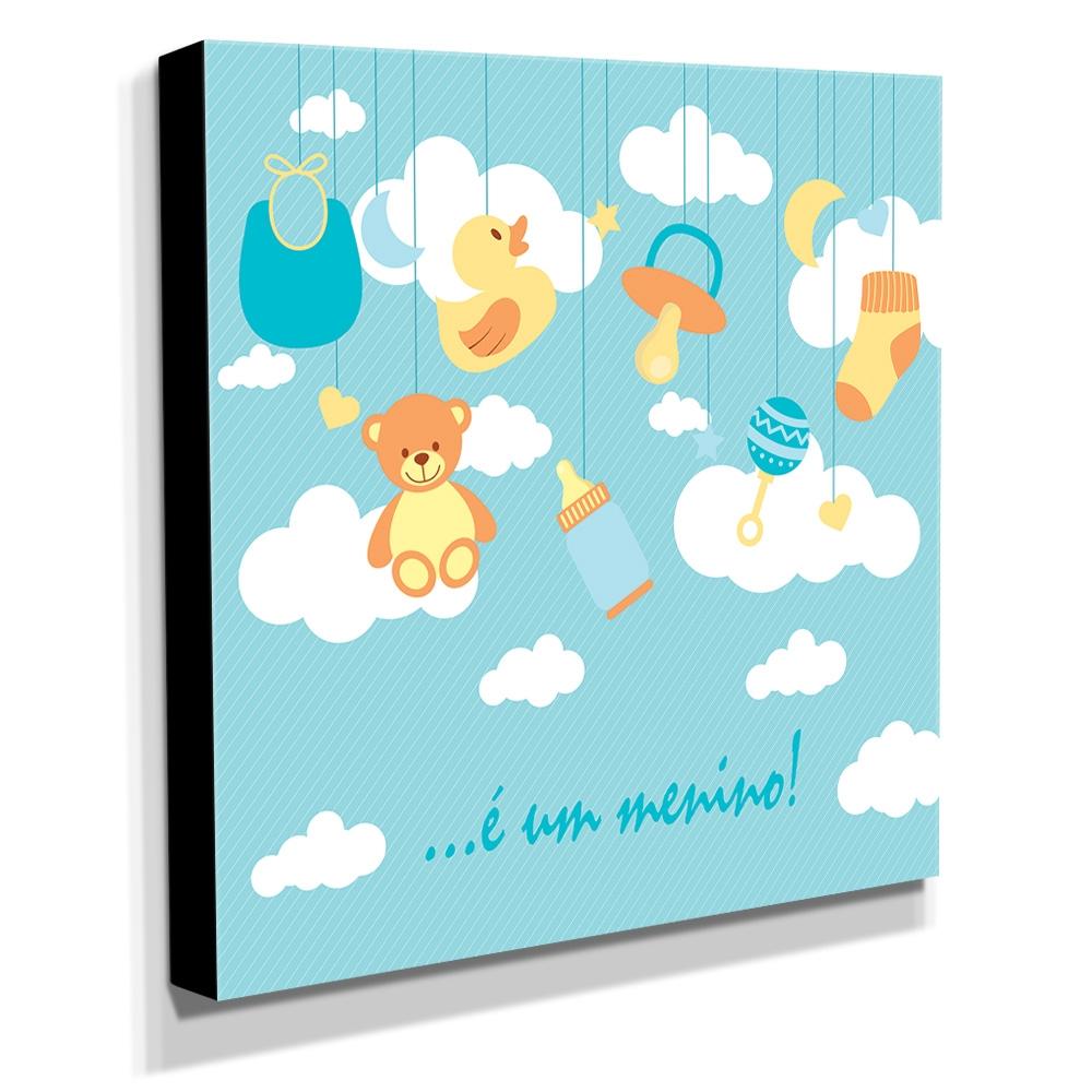 Quadro Infantil Maternidade É um Menino Canvas 30x30cm-INF136