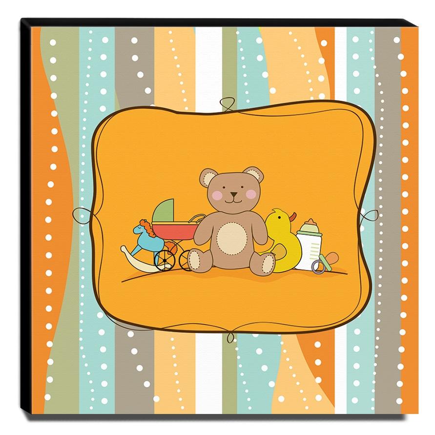 Quadro Infantil Maternidade Ursinho Canvas 30x30cm-INF236