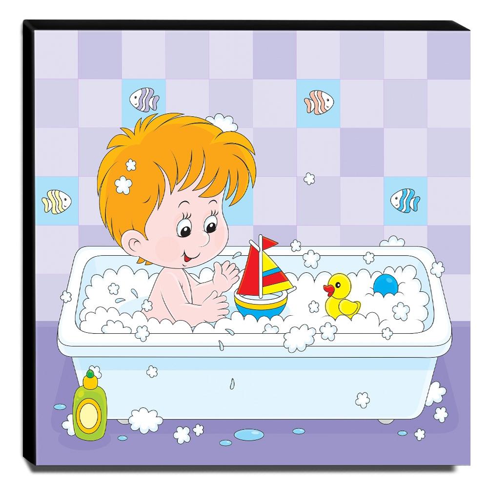 Quadro Infantil Menino Tomando Banho Canvas 30x30cm-INF106