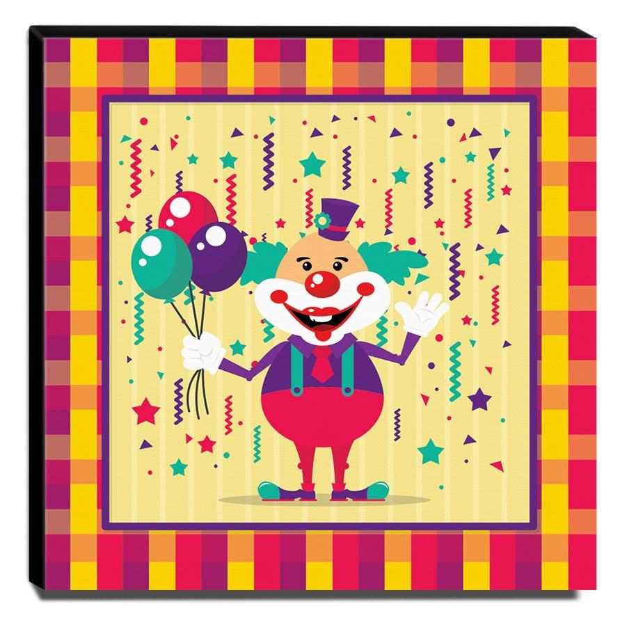 Quadro Infantil Palhaço Canvas 30x30cm-INF346