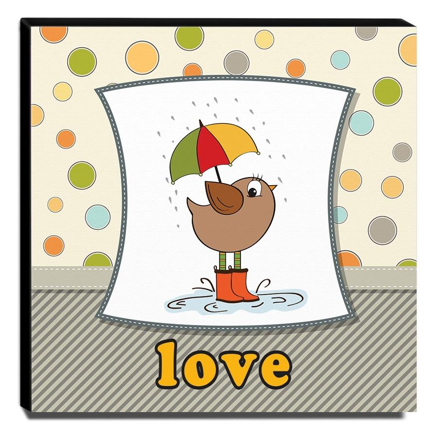 Quadro Infantil Pássaro Love Canvas 30x30cm-INF290
