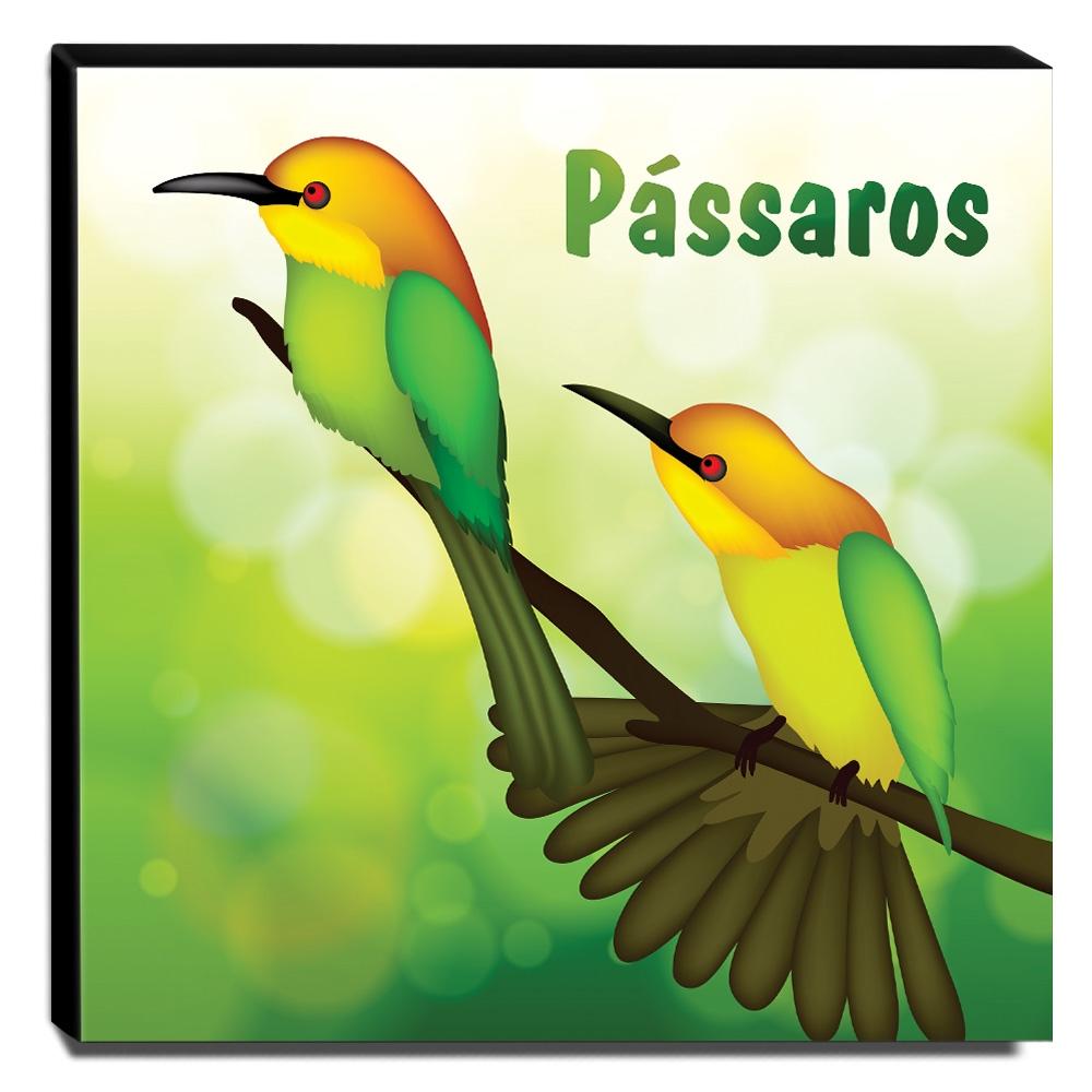 Quadro Infantil Pássaros Canvas 30x30cm-INF111