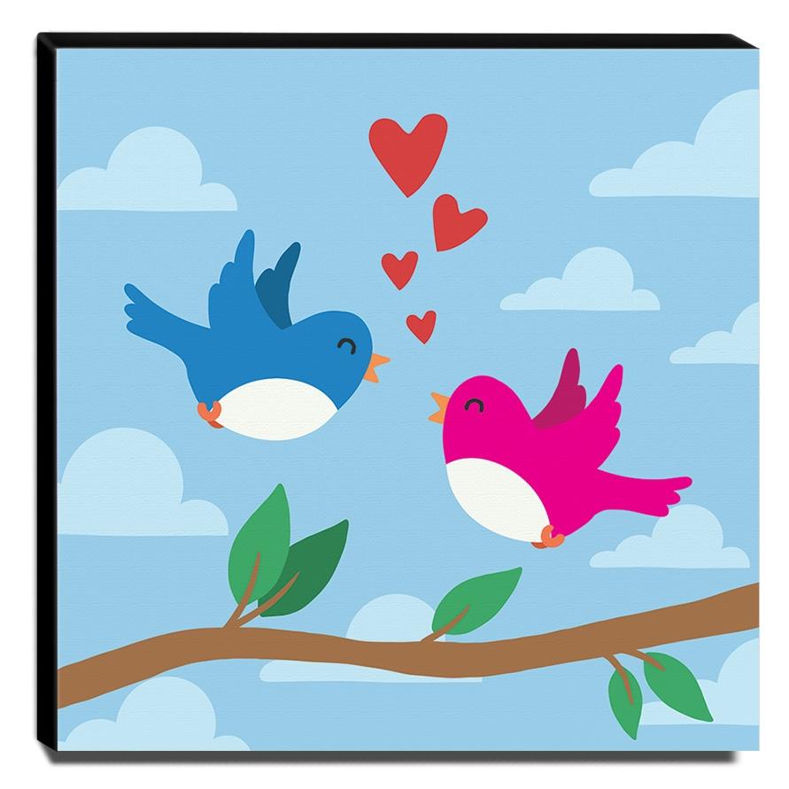 Quadro Infantil Pássaros Canvas 30x30cm-INF254