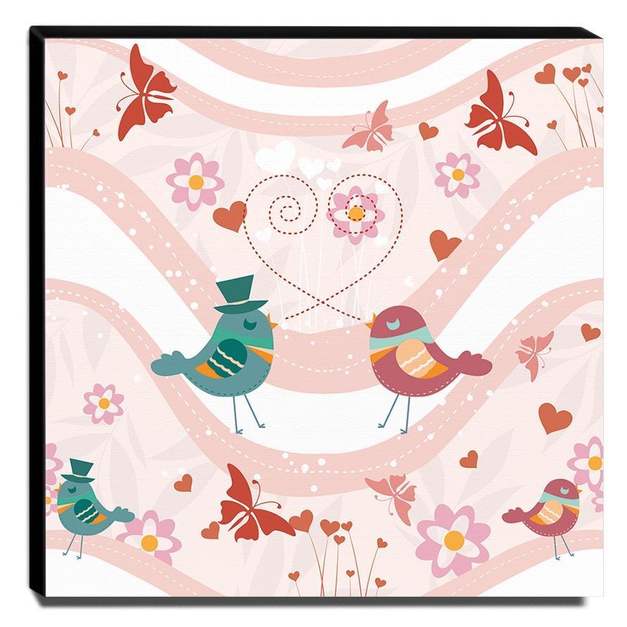 Quadro Infantil Pássaros Canvas 30x30cm-INF286