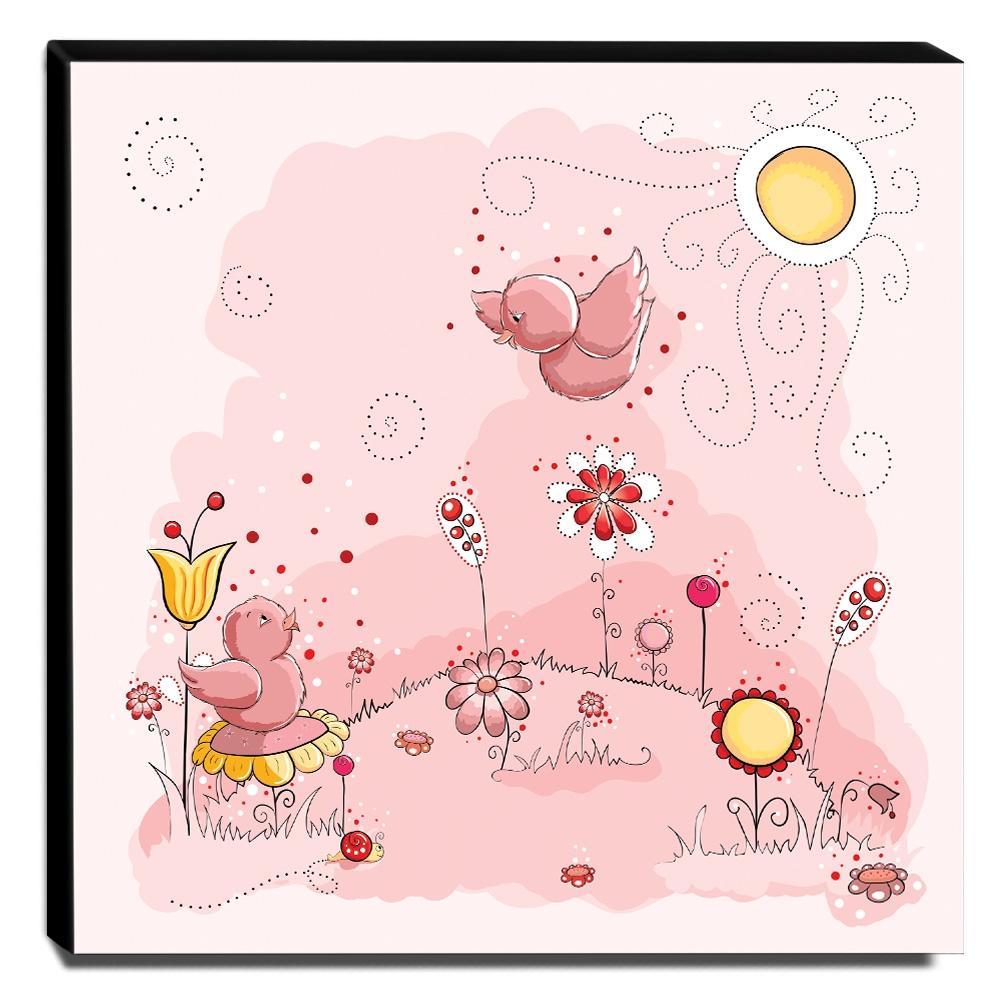 Quadro Infantil Pássaros Canvas 30x30cm-INF71