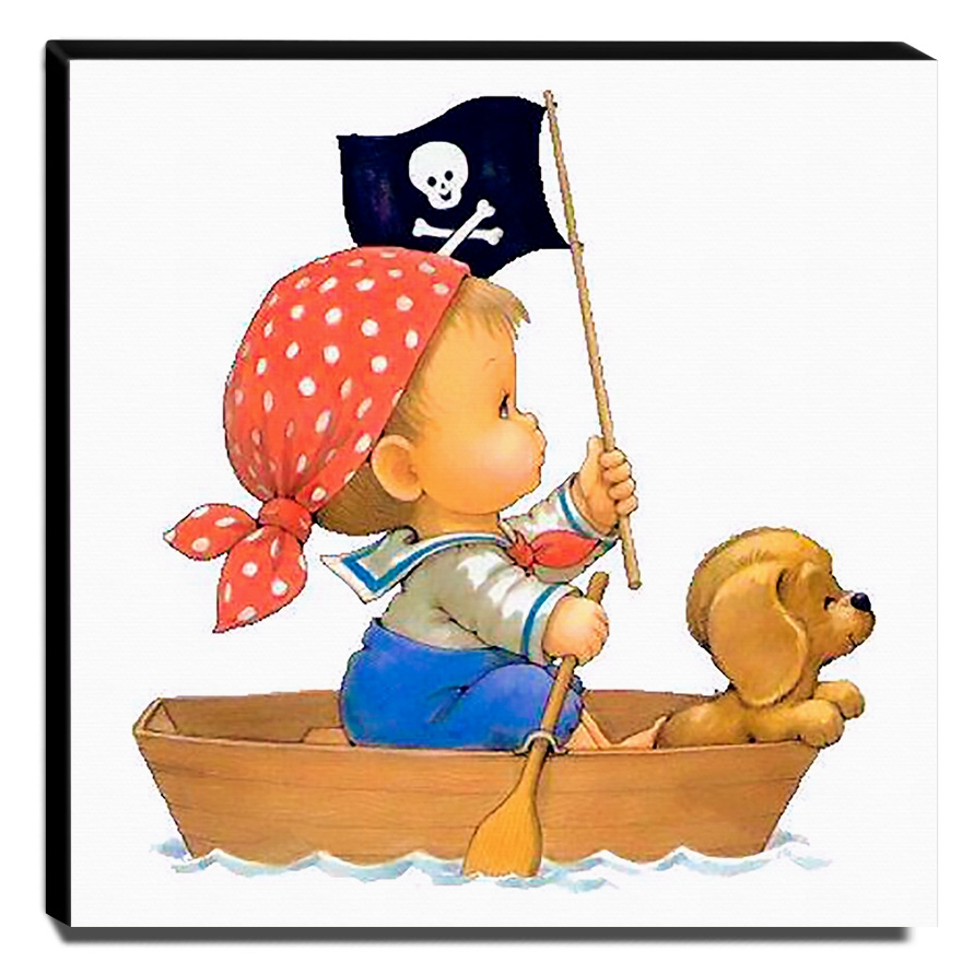 Quadro Infantil Pirata Menino No Barco Canvas 30x30cm-INF494