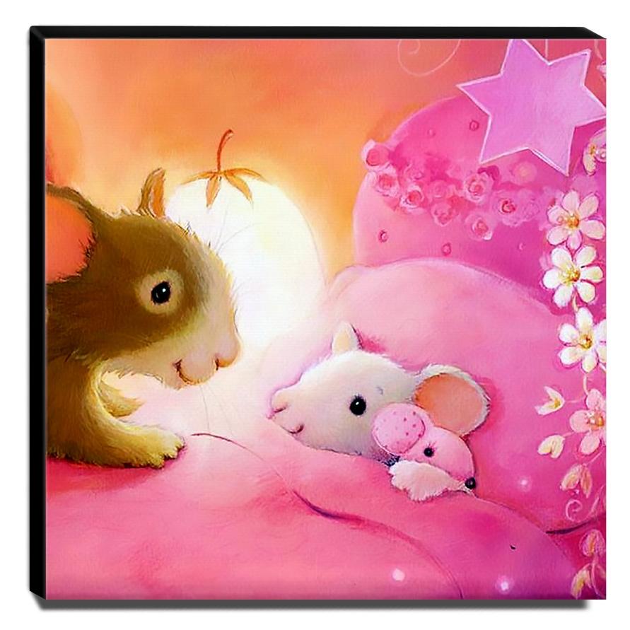 Quadro Infantil Ratinhos Canvas 30x30cm-INF505