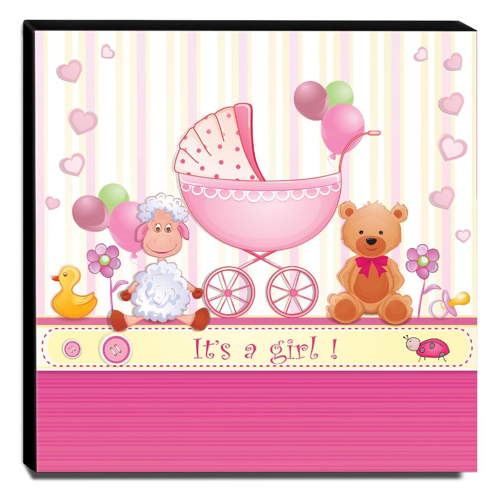 Quadro Infantil Ursinha Carrinho de Bebê Canvas 30x30cm-INF54