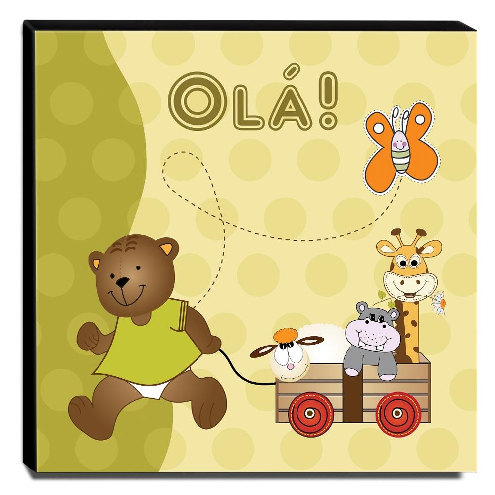 Quadro Infantil Ursinho Canvas 30x30cm-INF105