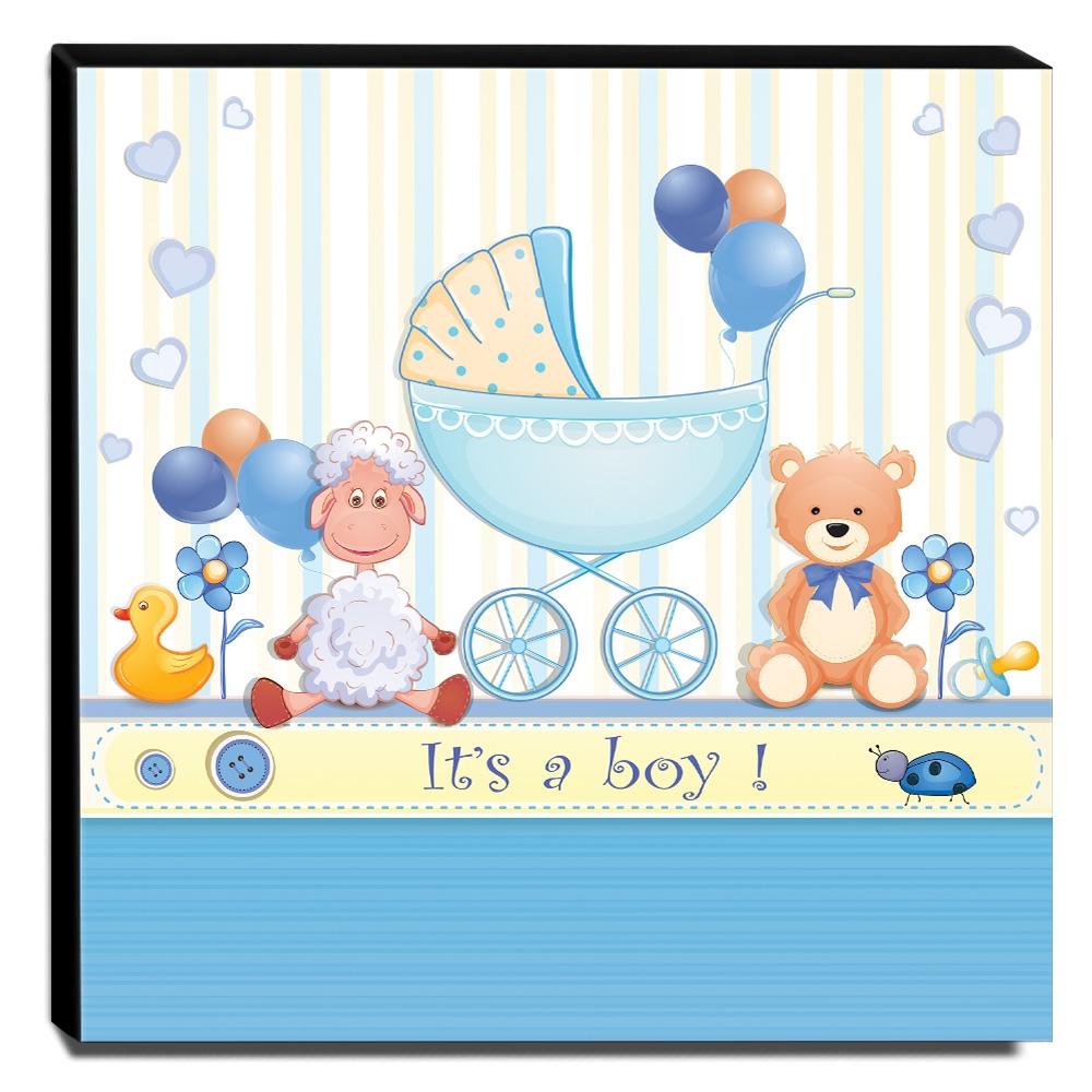 Quadro Infantil Ursinho Carrinho de Bebê Canvas 30x30cm-INF53