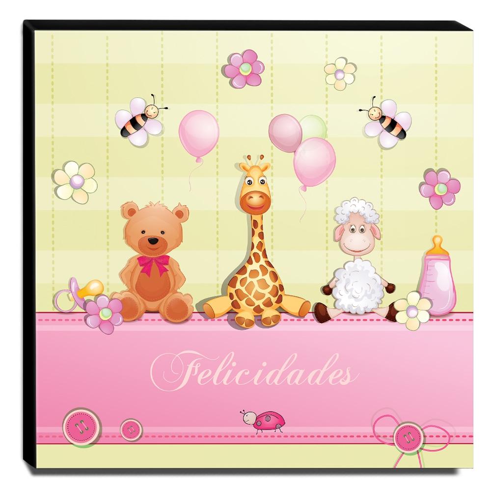 Quadro Infantil Ursinho Girafinha Ovelhilha Canvas 30x30cm-INF64