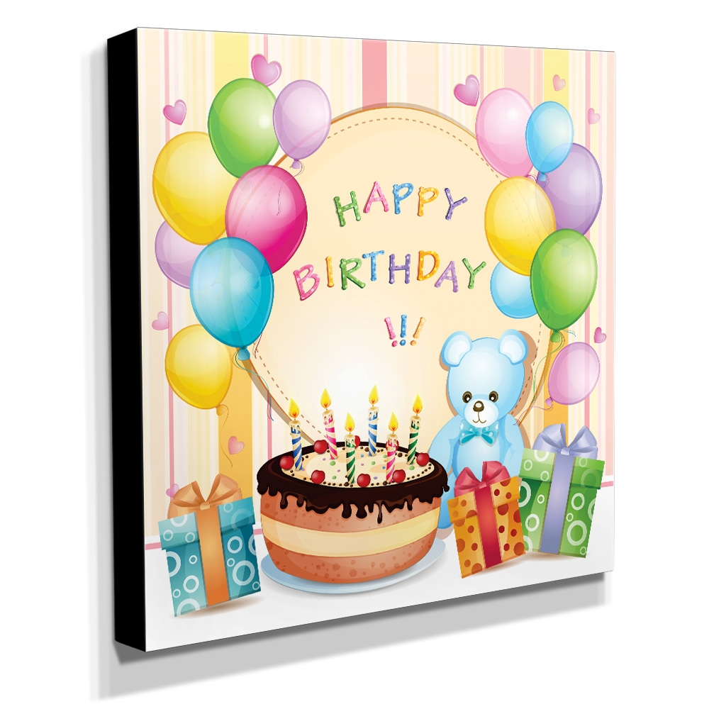 Quadro Infantil Ursinho happy birthday Canvas 30x30cm-INF65