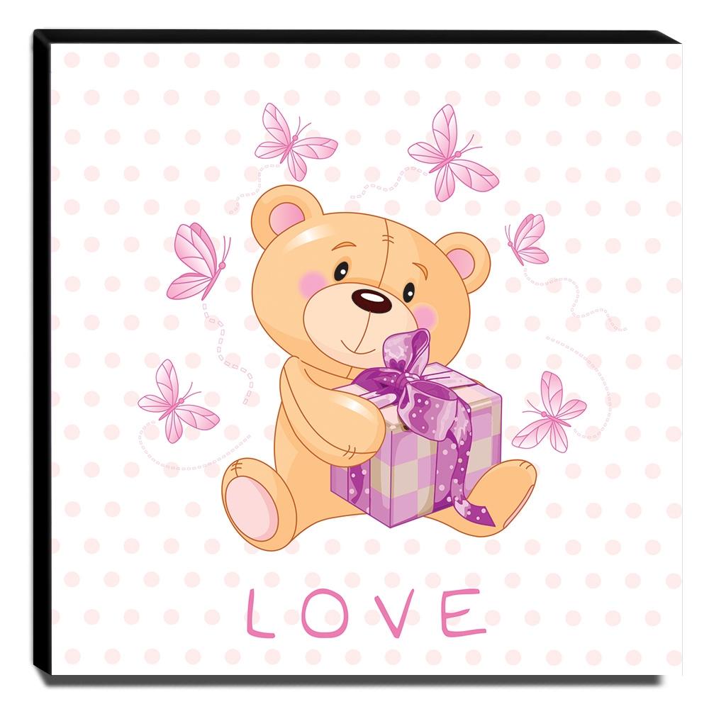 Quadro Infantil Ursinho Love Canvas 30x30cm-INF141