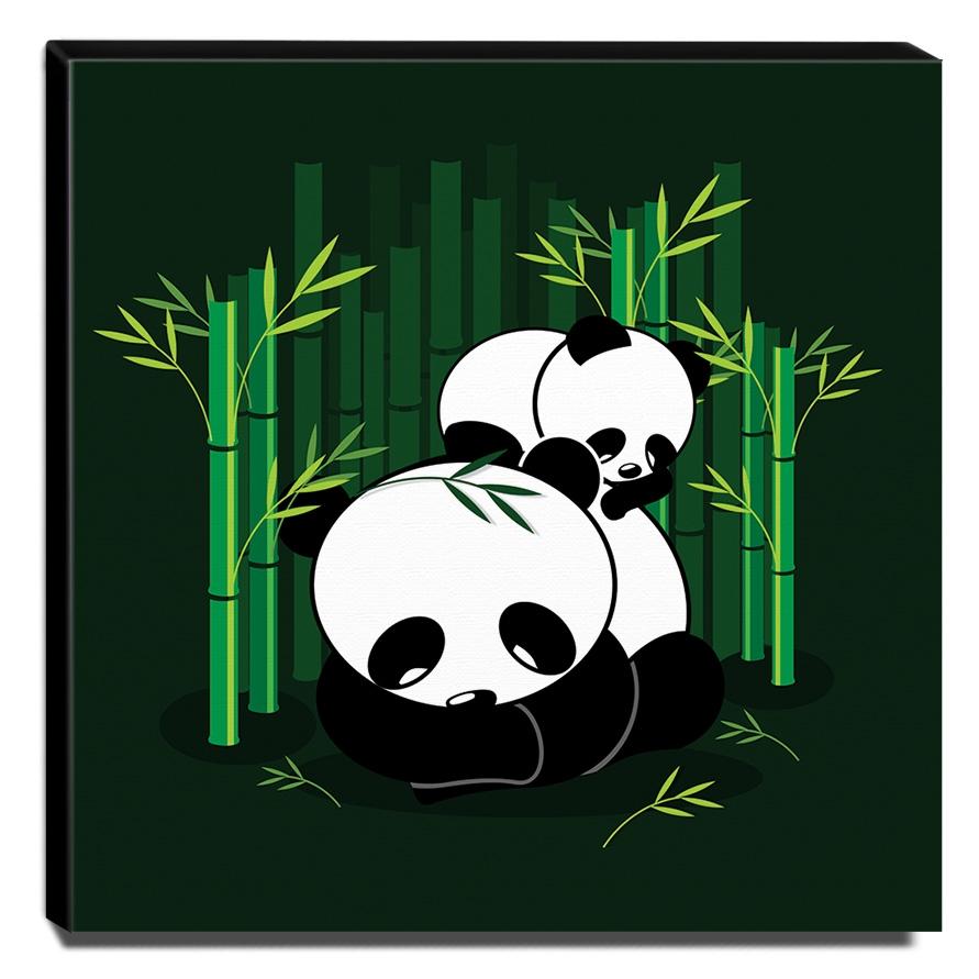 Quadro Infantil Ursinho Panda Canvas 30x30cm-INF283