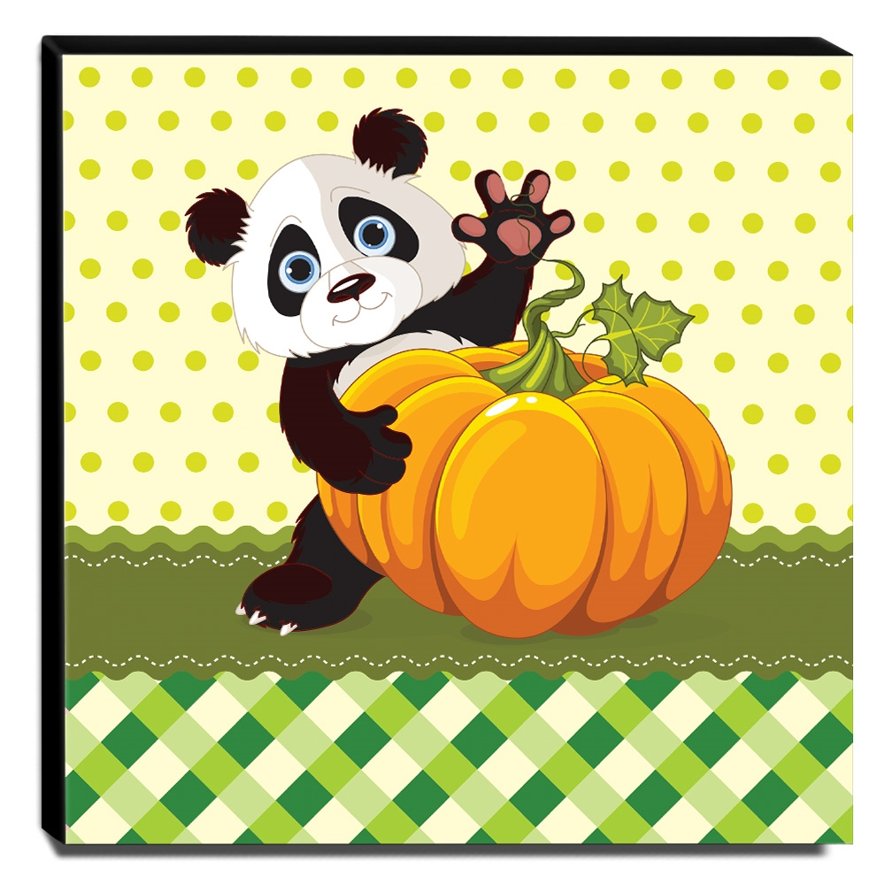 Quadro Infantil Ursinho Panda Canvas 30x30cm-INF75