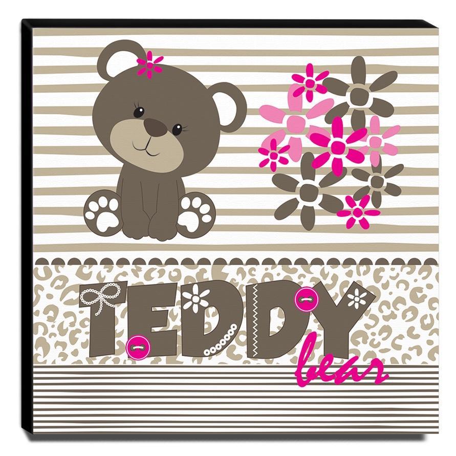 Quadro Infantil Ursinho Teddy Canvas 30x30cm-INF285