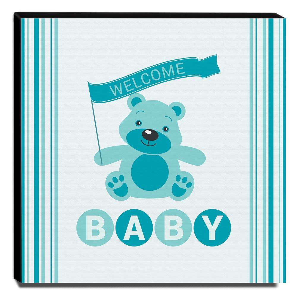 Quadro Infantil Ursinho Welcome Baby Canvas 30x30cm-INF198