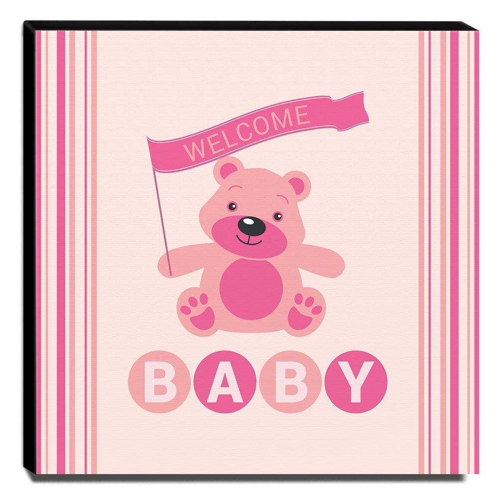 Quadro Infantil Ursinho Welcome Baby Canvas 30x30cm-INF199