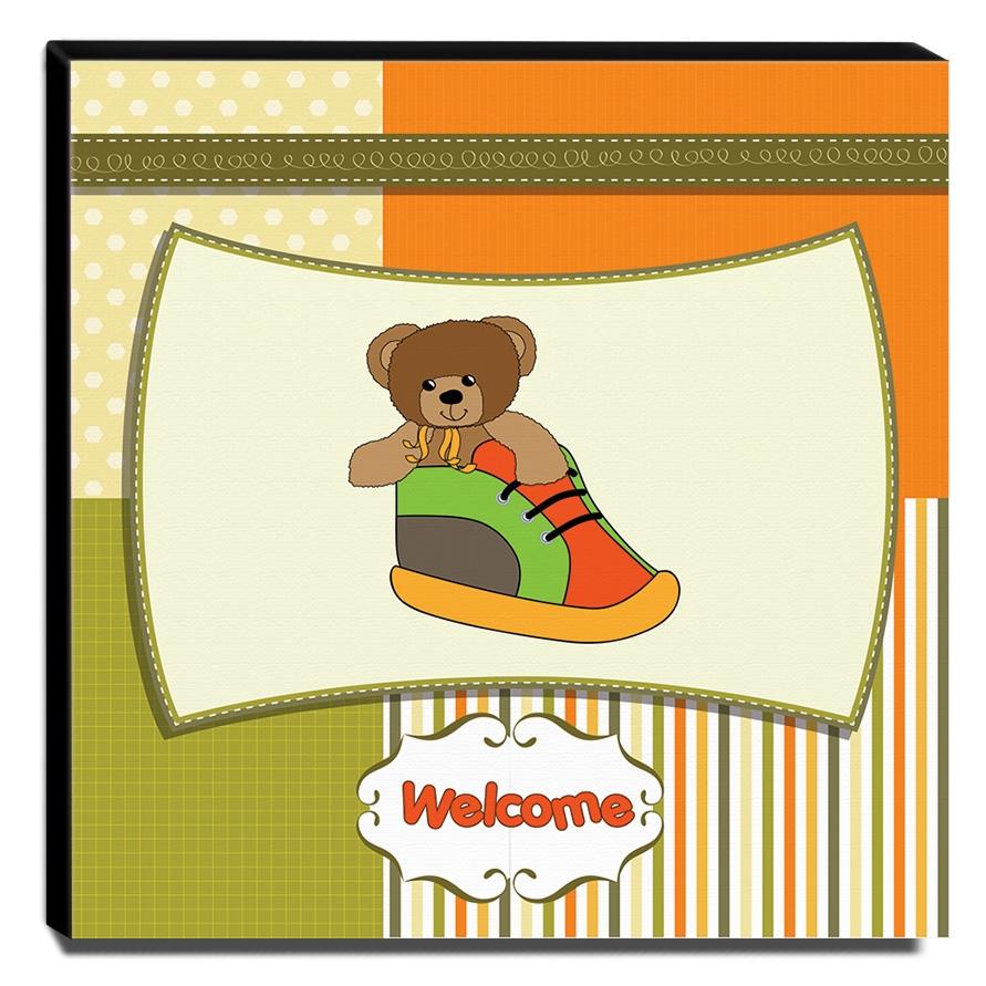Quadro Infantil Ursinho Welcome Canvas 30x30cm-INF242