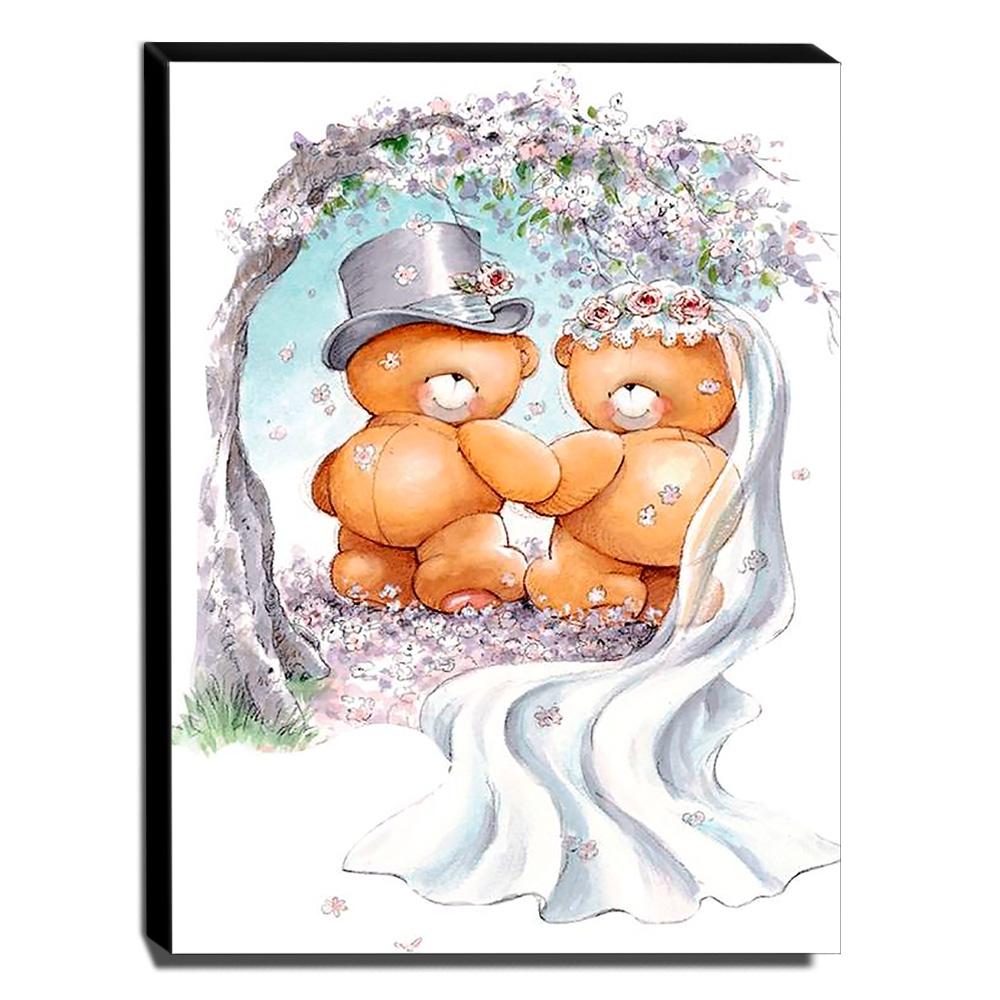 Quadro Infantil Ursinhos Casando Canvas 40x30cm-INF440