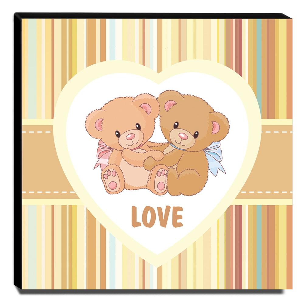 Quadro Infantil Ursinhos Love Canvas 30x30cm-INF139