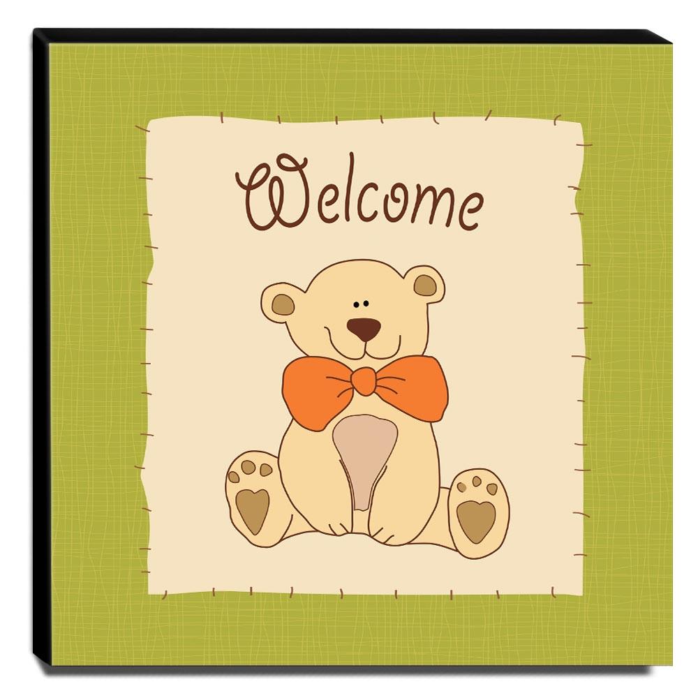 Quadro Infantil Urso Canvas 30x30cm-INF38