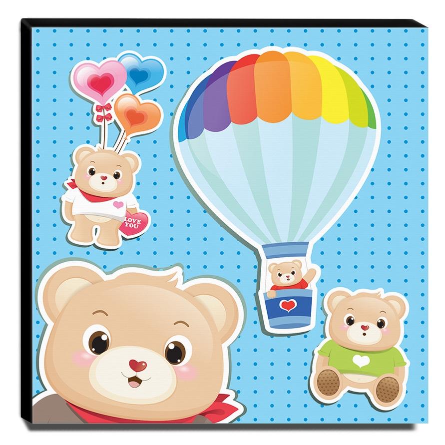 Quadro Infantil Urso Canvas 30x40cm-INF402