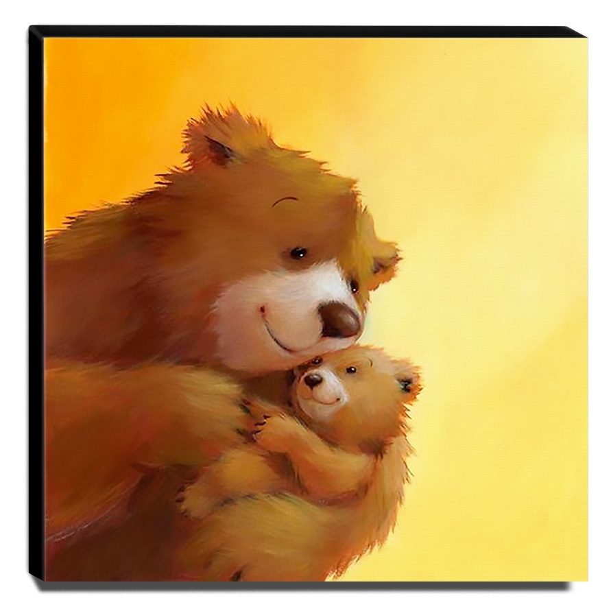 Quadro Infantil Ursos Canvas 30x30cm-INF417