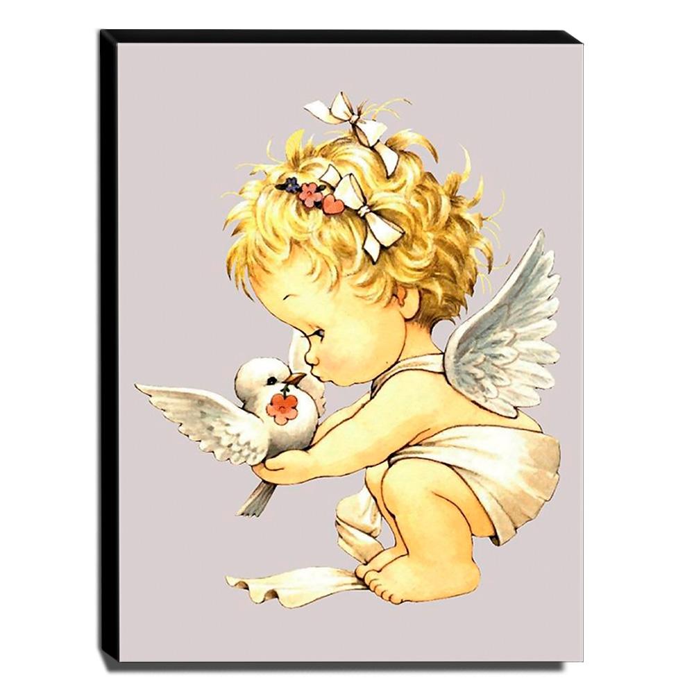 Quadro Infantil Vintage Anjinha e Pomba Canvas 40x30cm-INF449