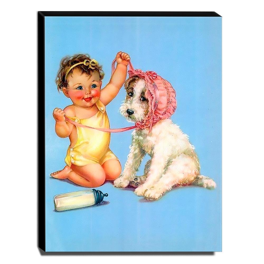 Quadro Infantil Vintage Criança e Cachorro Canvas 40x30cm-INF493