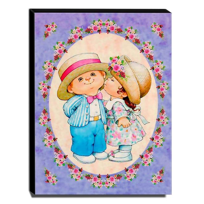 Quadro Infantil Vintage Menina Beijando Menino Canvas 40x30cm-INF510