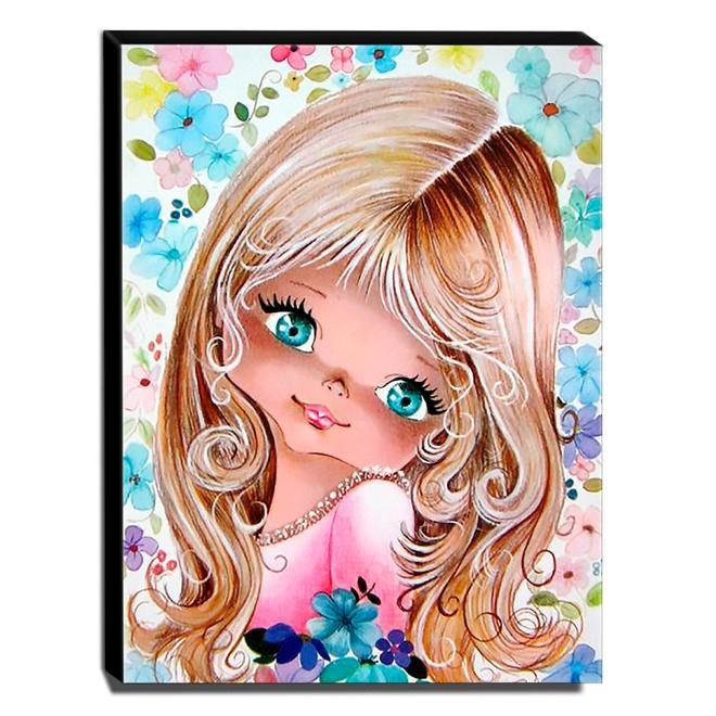 Quadro Infantil Vintage Menina Bonita Canvas 40x30cm-INF514