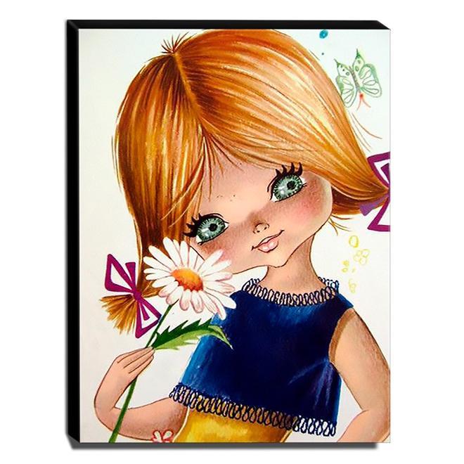 Quadro Infantil Vintage Menina Bonita Canvas 40x30cm-INF515