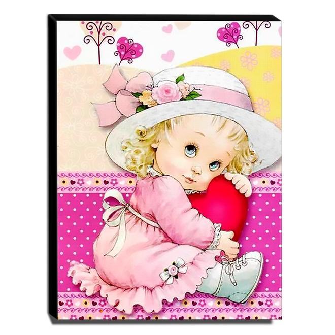 Quadro Infantil Vintage Menina Canvas 40x30cm-INF487