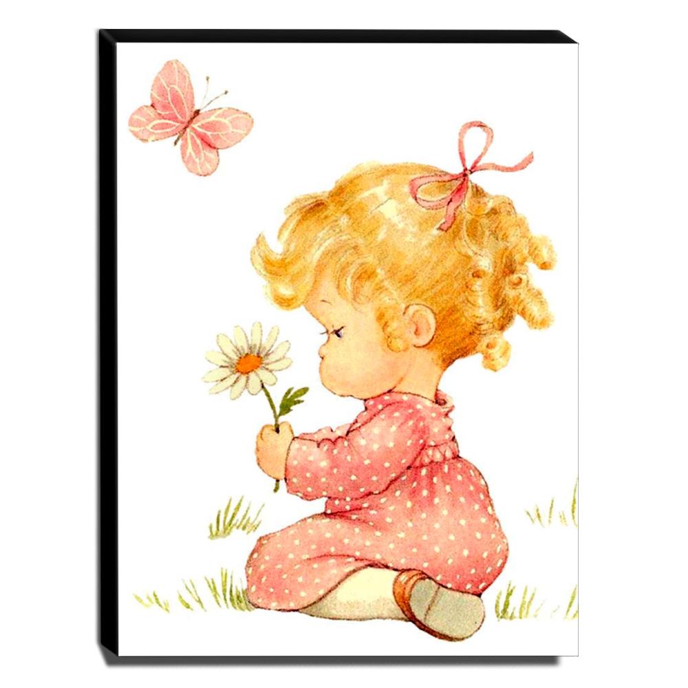 Quadro Infantil Vintage Menina Com Flor Canvas 40x30cm-INF499