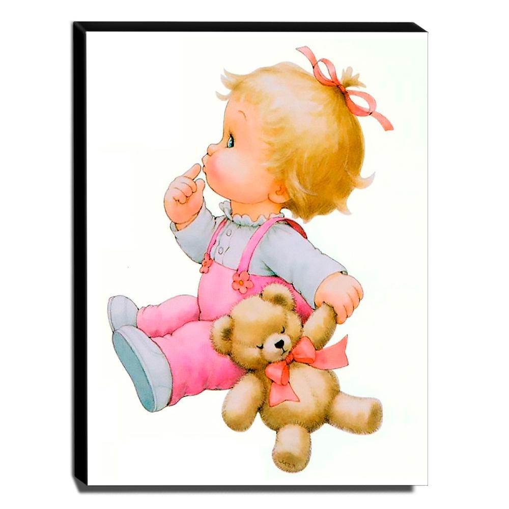 Quadro Infantil Vintage Menina Com Ursinho Canvas 40x30cm-INF501