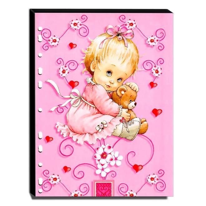 Quadro Infantil Vintage Menina Com Ursinho Canvas 40x30cm-INF511