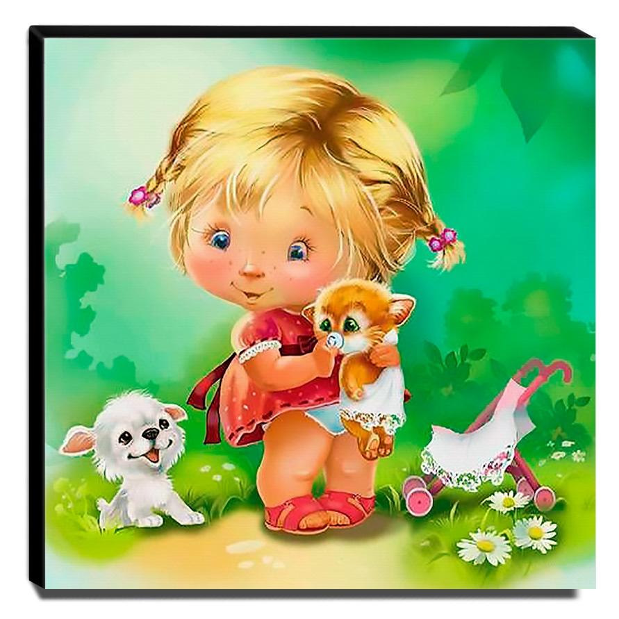 Quadro Infantil Vintage Menina e Animais Canvas 30x30cm-INF478