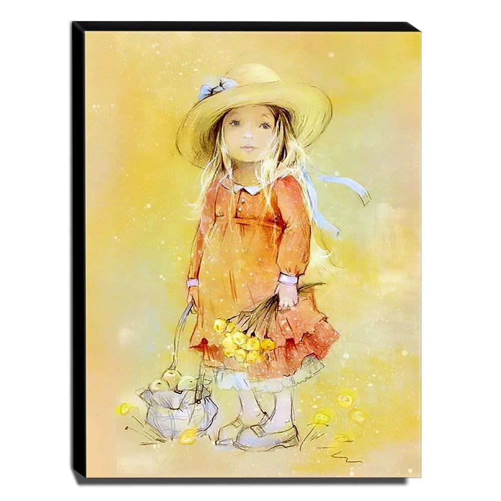 Quadro Infantil Vintage Menina e Flores Canvas 40x30cm-INF461