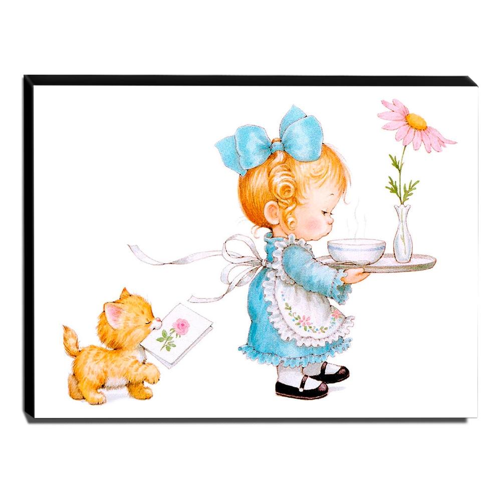 Quadro Infantil Vintage Menina e Gatinho Canvas 30x40cm-INF434